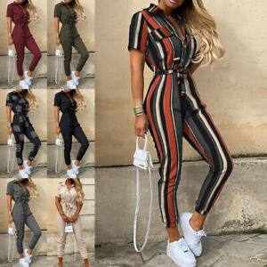 Womens Belted Jumpsuits Playsuit Ladies Cargo Trousers Striped Tie Waist Rompers