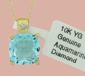GENUINE 3.92 Cts AQUAMARINE &  DIAMOND PENDANT 10k GOLD * Free Certificate *
