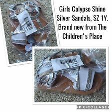 NWT Girls Calypso Shine Silver Sandals, SZ 1Y from The Children's Place