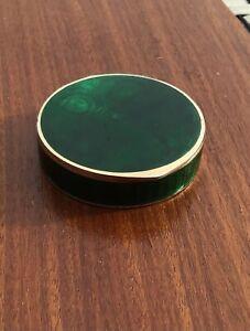David Andersen Norway sterling silver gilt green guilloche enamel box 1912-25.