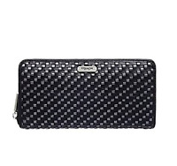 New Authentic Coach Avery Woven Black Leather Zip Around Accordion Wallet F51687