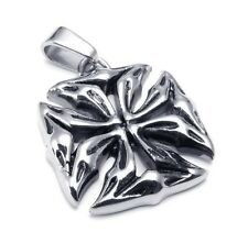Rugged Heavy Maltese Iron Cross Silver Stainless Steel Pendant Necklace