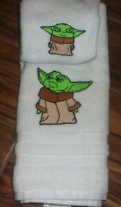 YODA BABY YODA  EMBROIDERY HAND TOWEL & WASH CLOTH SET