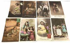 """Lot de 8 Cartes postales, CP """"1900""""  enfants: le canon en bois, et la robe jaune"""
