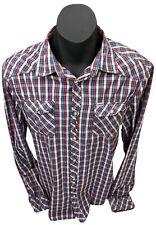 Elwood Men's Western Campdraft Pearl Snap Navy/Blue/Red/White LS Shirt Sz XL