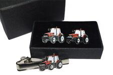 Case International Red Tractor Cufflinks & Tie Clip Set GIFT BOXED Enamel