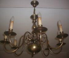 Alte Messing Deckenlampe/Kronleuchter, 8 flammig