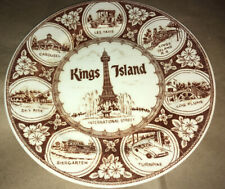 Vintage KINGS ISLAND Amusement Park PLATE Taxis Sky Ride Turnpike Rides Souvenir
