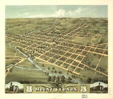 1870 RUGER & STONER, BIRD'S EYE VIEW OF MOUNT VERNON, OHIO COPY POSTER MAP