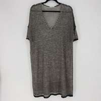 Eileen Fisher Women's Black Cream V-neck Open Knit 100% Organic Linen Tunic Top