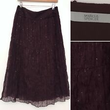 M&S Womens Maxi Skirt Size 12 Purple Sequin Sparkle Party Autumn Christmas 2