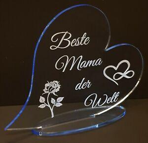Muttertag Geschenk Beste Mama der Welt  fluoreszierend Acryl Herz mit Gravur