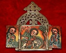 Ethiopian Christian Handmade Metal Altar Painting Triptych Icon, Ethiopia Africa