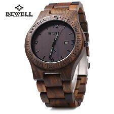 Bewell ZS-W086B Men Wooden Watch Waterproof Calendar Analog Quartz Movement Wood