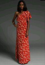 Blu Moon Red One Shoulder Bird Print Maxi Dress  2  S/M
