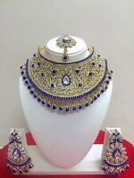 Indian Bollywood Style Gold Plated Bridal Fashion Jewelry Necklace Set