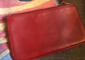 Vintage Coach Red Leather Clutch wallet Handbag purse EC