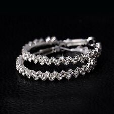 Large Glitzy Silver Cubic Zirconia Diamante Crystal Big Hoop Earrings-Uk Seller