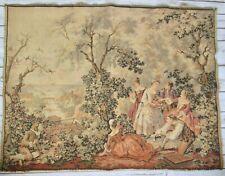 Woven Tapestry Made in France Victorian Court Scene Garden Water Bridge Vtg