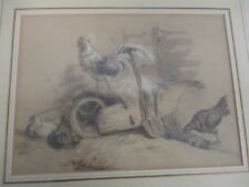 VINTAGE PENCIL DRAWING & PAINTING of ROOSTER & HENS BY WHEELBARROW
