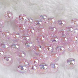 Wholesale 6/8/10mm Shiny AB Round Loose Acrylic Beads Charms DIY Jewelry Making