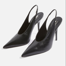 NEW TOPSHOP Goddess Slingback Real Leather V CUT PUMPS Heels Black Shoes 6,5