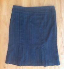 Ladies PORTMANS Skirt Size 10 Grey Black Pinstripe Pleated Work Straight Knee