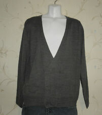 Grey Acrylic NEW LOOK Double Button V Neck Top Knitwear Sweater Cardigan Size L