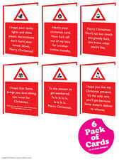 Brainbox Candy Rude Warning Christmas Xmas card multi pack of 6 funny cheeky