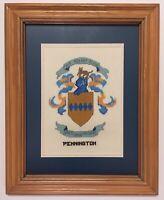 RARE VINTAGE Pennington Family Crest Framed Needlepoint & X-Stitch-16 x 20 ©1996