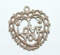 I Love You Heart Sterling Silver 925 Vintage Bracelet Charm With Gift Box