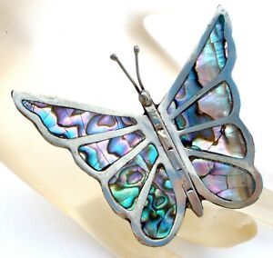 Large Sterling Silver Butterfly Brooch with Inlay Ablalone Shell Vintage Pin W