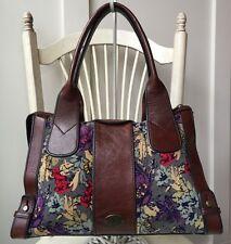 FOSSIL Vintage Reissue FLORAL Whisky Brown Leather Satchel Handbag Tote VRI