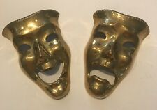 Set of 2 Brass Greek Comedy/Tragedy Masks Drama Wall Hanging Home Décor 7�