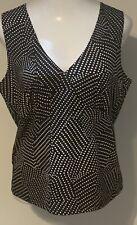 Josephine Black White Polka Dot V-Neck Sleeveless Blouse Size XL