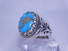 COSTUME CARVE CUT DESIGN MEN'S SILVER RING WITH OVAL NEYSHABOURI TURQUOISE