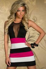 Women Sexy MINI DRESS Evening Party Club Wear Black Pink White One Size- 8 10 AU