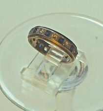 VINTAGE 9CT GOLD BLUE & WHITE SPINEL ETERNITY/ BAND RING