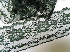 """BLACK LACE TRIM 4 """" wide -10yds.- WEDDING - RUNNERS - BOWS ~ 10 yds or more"""