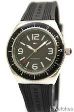 New Tommy Hilfiger Black Rubber Band Women Watch 39mm 1781005 $95
