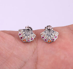 SHELL RUBY .925 SOLID STERLING SILVER EARRINGS #20578
