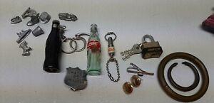 Mini VTG Junk Drawer Lot Advertising Key Chains Jewelry Monopoly more