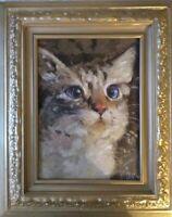 "Oil Painting ""KITTY KAT"", OIL ON CANVAS by Lyudmila Kolova 8+""x11+"" FRAMED"