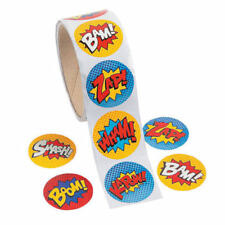 100 -  Superhero Roll Stickers - Birthday Party Favor Teacher Labels Fun Bag