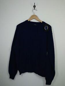 NWT JANTZEN Vintage Sweater Pullover Navy Blue Wool Blend Knit Crew Neck USA XL
