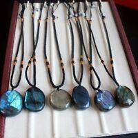 Natural Colorful Labradorite Crystal Rough Polished Gem Mineral Healing Pendants