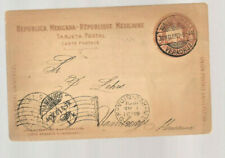 1901 Mexican Railroad postal card Veracruz to Hamburg Germany