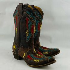 Corral Teens Size 6T Western Boots Brown Leather Colorful Butterfly Stitching