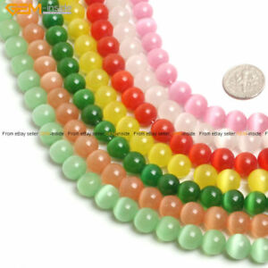 """10mm Round Lab Created Cat's Eye Glass Beads For Jewelry Making Strand 14"""""""