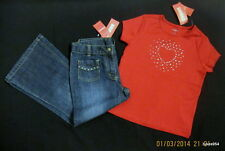 Gymboree Red Heart Valentine Rhinestone Shirt Top Denim Pants Jeans 6 Plus 7 NWT